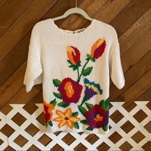 Vintage grandma's floral knit sweater top size S